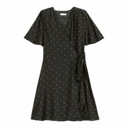 Polka Dot Wrapover Dress with Tie-Waist