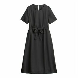 Midi Shift Dress with Tie-Waist