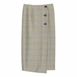 Checked Midi Wrapover Skirt