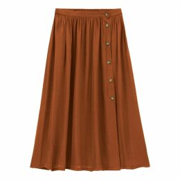Buttoned Midi Full Skirt