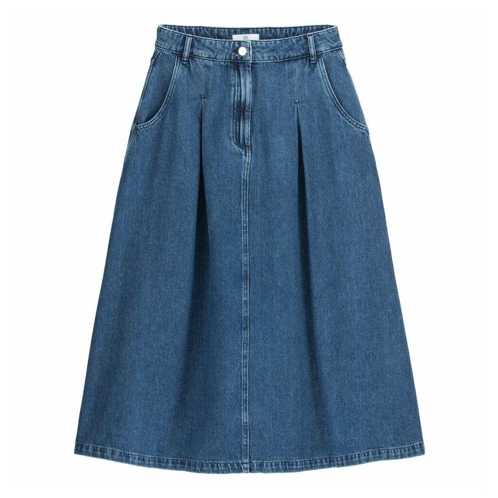 Denim Full Mid-Length Skirt