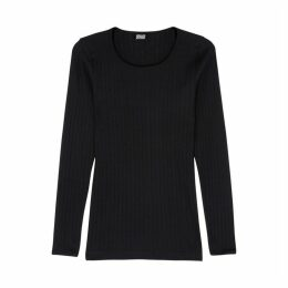 MADS NORGAARD Black Ribbed Cotton Top