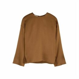 Vince Brown Silk Satin Blouse