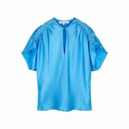 Christopher Esber Blue Ruched Silk Top