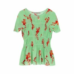 Preen Line Lilou Green Floral-print Ruched Top