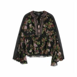 Giambattista Valli Floral-print Lace-trimmed Silk Blouse