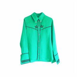 Florence Bridge Embroidered Cowboy Shirt (jade Green)
