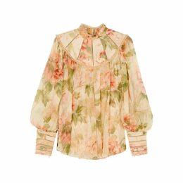Zimmermann Espionage Floral-print Silk Blouse