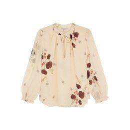 Joie Rafaella Ecru Floral-print Silk Blouse
