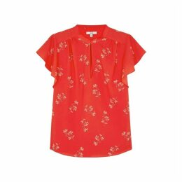Joie Marlina Red Floral-print Blouse