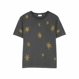 Saint Laurent Grey Star-print Cotton T-shirt