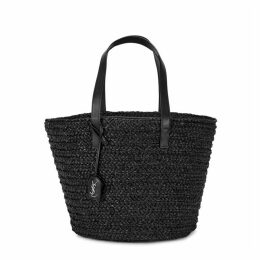 Saint Laurent Panier Black Raffia Tote