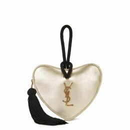 Saint Laurent Sac Coeur Heart Leather Clutch