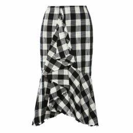Nissa - Plaid Side Ruffle Asymmetric Skirt