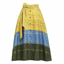 Emily Lovelock - Letter Print Skirt - Yellow