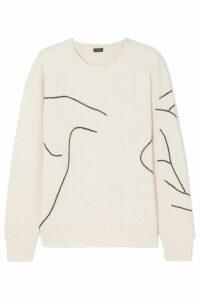 Joseph - Embroidered Wool Sweater - Ecru