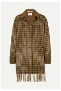 Nanushka - Marzy Fringed Checked Wool And Silk-blend Coat - Brown