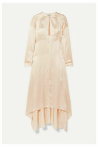 Le Kasha - Turfan Asymmetric Pearl-embellished Silk-satin Dress - Beige