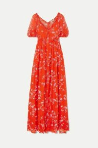 Nicholas - Ruffled Floral-print Silk-chiffon Maxi Dress - Orange