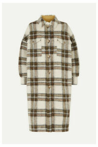 Isabel Marant Étoile - Gabrion Oversized Checked Brushed-felt Coat - Army green