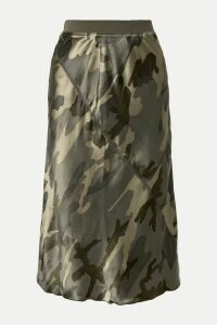 ATM Anthony Thomas Melillo - Camouflage-print Silk-satin Skirt - Army green