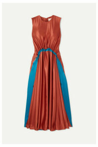 Roksanda - Keeva Gathered Two-tone Silk-satin Midi Dress - Orange