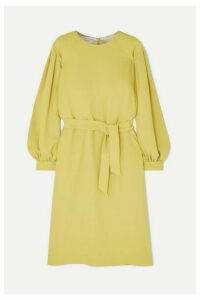 Dries Van Noten - Dizan Belted Crepe Dress - Chartreuse