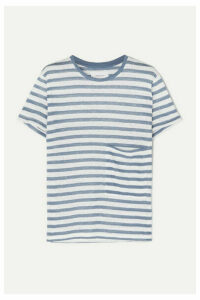 Current/Elliott - The Drop Pocket Striped Linen T-shirt - Blue