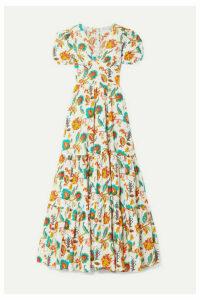Caroline Constas - Tiered Floral-print Cotton-voile Maxi Dress - White
