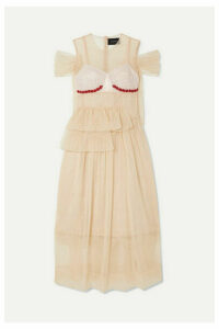 Simone Rocha - Crystal-embellished Silk-satin And Lace-paneled Ruffled Tulle Dress - Neutral