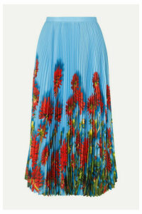 Dries Van Noten - Sax Pleated Floral-print Crepe De Chine Midi Skirt - Light blue