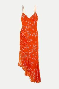 Nicholas - Asymmetric Ruched Floral-print Silk Crepe De Chine Dress - Orange