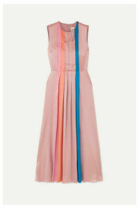 Roksanda - Pleated Color-block Silk-satin Midi Dress - Lilac