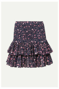 Isabel Marant Étoile - Naomi Ruffled Floral-print Cotton-gauze Mini Skirt - Purple