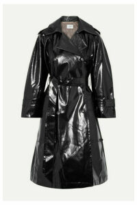 Nanushka - Ambar Belted Vinyl Trench Coat - Black