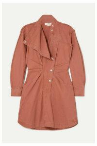 Isabel Marant Étoile - Linore Gathered Cotton-canvas Mini Dress - Brown