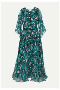 Eywasouls Malibu - Claire Floral-print Chiffon Maxi Dress - Turquoise