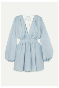 MATIN - Gathered Cotton And Silk-blend Mini Dress - Blue