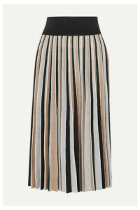 Agnona - Pleated Wool-blend Midi Skirt - Black