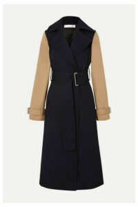 Victoria Beckham - Two-tone Wool-gabardine And Cotton-blend Canvas Trench Coat - Navy