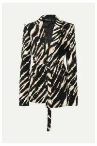 House of Holland - Belted Zebra-print Cotton-canvas Blazer - Black