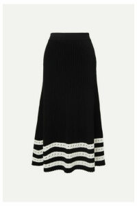 Alexander McQueen - Pointelle-trimmed Cable-knit Midi Skirt - Black