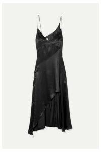Le Kasha - Niya Asymmetric Silk-satin Dress - Black