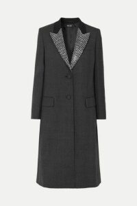 Miu Miu - Crystal-embellished Prince Of Wales Checked Wool Coat - Black