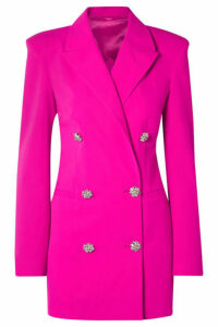 Attico - Double-breasted Wool-blend Crepe Mini Dress - Fuchsia
