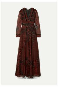 Eywasouls Malibu - Chelsea Crochet-trimmed Printed Chiffon Maxi Dress - Black