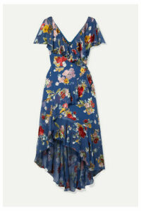 Alice + Olivia - Electra Asymmetric Floral-print Fil Coupé Chiffon Dress - Blue