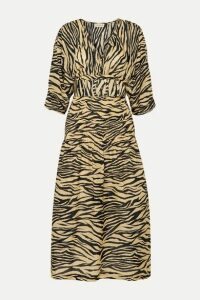 Nicholas - Belted Smocked Zebra-print Cotton And Silk-blend Midi Dress - Neutral