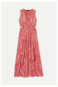 Maje - Renila Cutout Leopard-jacquard Maxi Dress - Red