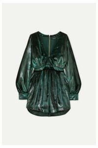 Balmain - Gathered Metallic Velvet Mini Dress - Green